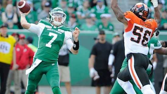 Cody Fajardo throws two touchdowns as Roughriders beat Lions