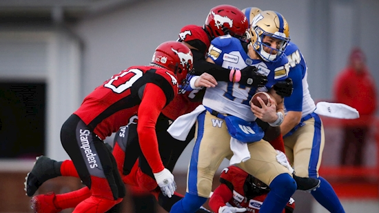 Calgary Stampeders down Blue Winnipeg Bombers in divisional battle
