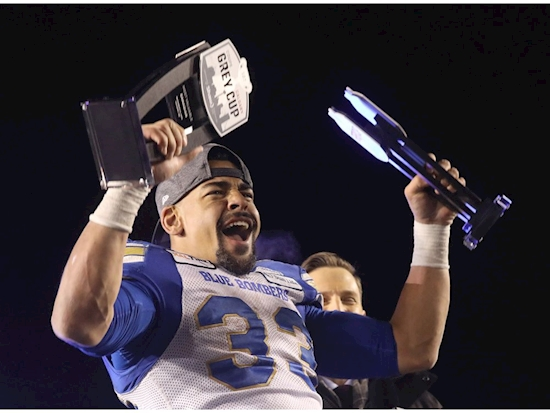 Bombers' Andrew Harris first-ever to capture MVP, MOC in Grey Cup